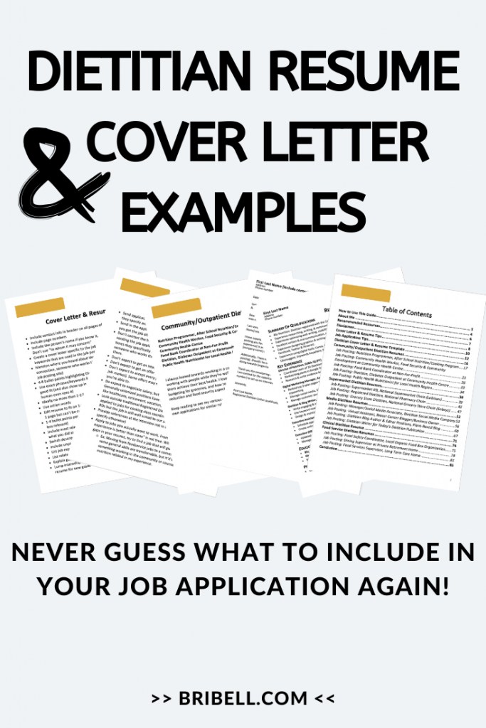 Dietitian cover letter resume examples